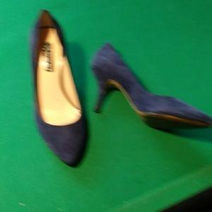 Sapphire blue suede heels